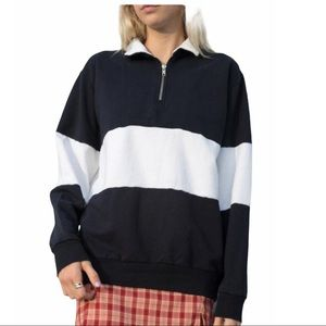 Brandy Melville Blue White Stripe Zip Sweatshirt